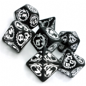 Black & White Dragons Dice Set